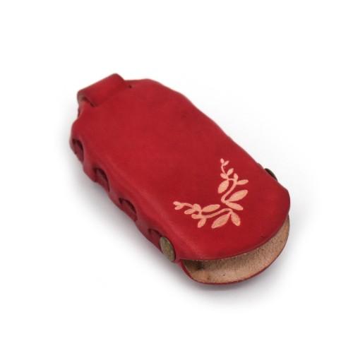 Pletena kožna futrola za ključeve Sima crvena 009