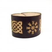 Aegishjalmur (vikinški simbol) ručno rađena kožna narukvica