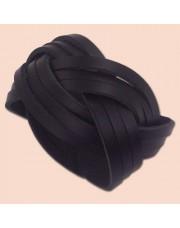 Crna kožna pletena narukvica šira