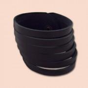 Kožna narukvica rezana crna