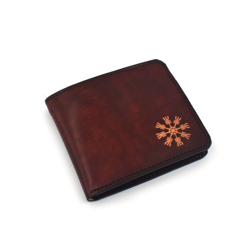 Vikinški simbol Aegishjalmur - muški kožni novčanik  - ručni rad