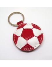 Kožni privesak za ključeve fudbalska lopta - Crveno-beli