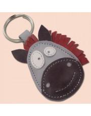 Konj kožni privesak za ključeve sivi