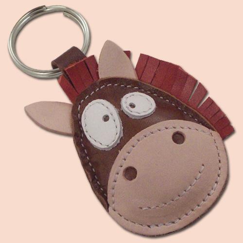 Konj kožni privesak za ključeve braon