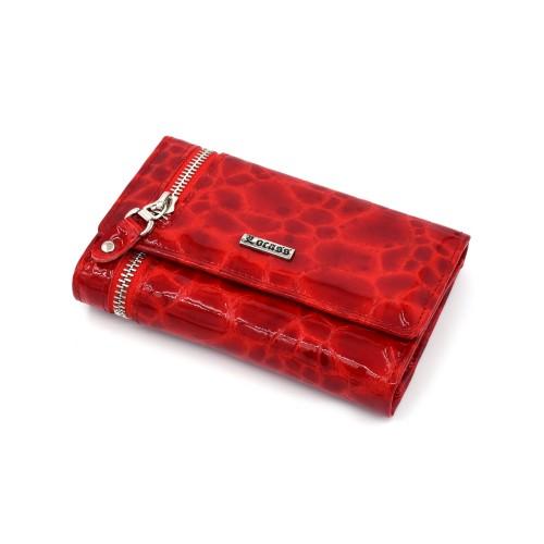 Ženski kožni novčanik - Model 236 Lak kroko crveni