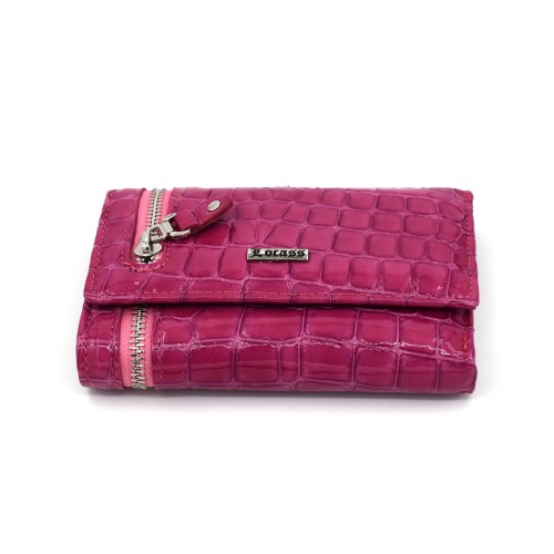 Ženski kožni novčanik - Model 236 Lak kroko roze