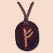 Kožna ogrlica runa amulet Fehu